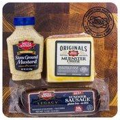 Dietz & Watson Dietz & Watson Charcuterie Board, Muenster Cheese/Stone Ground Mustard/Beef Summer Sausage, Shrink Wrapped
