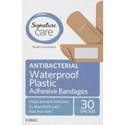 Signature Care Bandages, Adhesive, Antibacterial, Waterproof Plastic