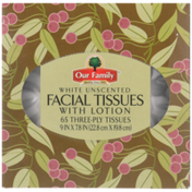 Our Family Facial Tissues With Lotion, Unscented