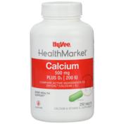 Hy-Vee Healthmarket, Calcium 500 Mg Plus D3 | 200 Iu Bone Health Support Calcium & Vitamin D3 Supplement Tablets