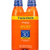TopCare Sunscreen Spray, Broad Spectrum SPF 30, Twin Pack