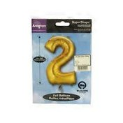 "Mayflower Distributing 34"" Gold Number 2 Shape Balloon"