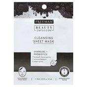 Freeman Sheet Mask, Cleansing, Charcoal + Probiotics