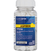 CareOne Aspirin, Pain Reliever/Fever Reducer, 325 mg, Adults, Coated Tablets
