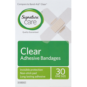 Signature Care Bandages, Adhesive, One Size, Clear