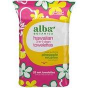 Alba Botanica Pineapple Enzyme Hawaiian 3-in-1 Clean Wet Towelettes