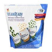 SB Steam Ready Single Serve Vegetable Packets - Broccoli Florets, Peas, Corn - 6 CT