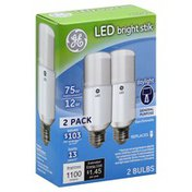 GE Light Bulbs, LED, Bright Stik, Daylight, 12 Watts, 2 Pack