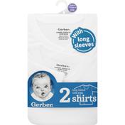 Gerber Shirts, Long Sleeve, Side Snap, Newborn
