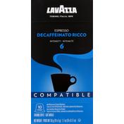 Lavazza Coffee, Ground, Espresso Decaffeinato Ricco, Intensity 6, Capsules