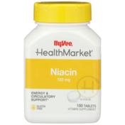Hy-Vee Healthmarket, Niacin 100 Mg Energy & Circulatory Support Vitamin Supplement Tablets