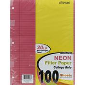 Top Flight Filler Paper, College Rule, Neon