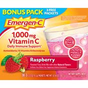 Emergen-C Vitamin C, 1000 mg, Raspberry, Bonus Pack
