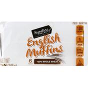 Signature Select English Muffins, 100% Whole Wheat
