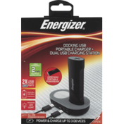 Energizer Docking USB, Portable Charger + Dual USB Charging Station, Box