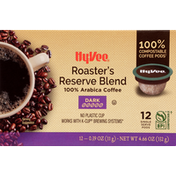 Hy-Vee Coffee, 100% Arabica, Dark, Roaster's Reserve Blend, Pods