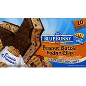 Blue Bunny Ice Cream Sandwiches, Peanut Butter Fudge Chip