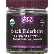 Gaia Herbs Black Elderberry, Extra Strength, Gummies