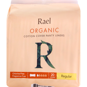 Rael Panty Liners, Cotton Cover, Organic, Ultra Thin, Regular