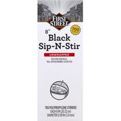 First Street Stirrers, Sip-N-Stir, Black, Unwrapped, 8 Inches