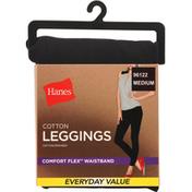 Hanes Leggings, Black, Cotton, Medium