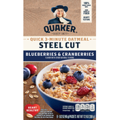 Quaker Oatmeal, Quick 3-Minute, Blueberries & Cranberries, Steel Cut