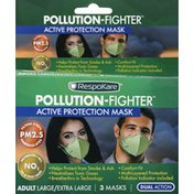 RespoKare Facemasks, Active Protection, Pollution-Fighter, Adult Large/Extra Large