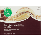 Food Club Vanilla Flavored Ice Cream With Fudge Swirl