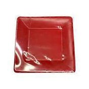 """Ideal Home Range 7"""" Square Red Classic Linen Paper Plates"""