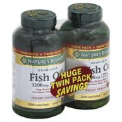 Nature's Bounty Fish Oil, 1200 mg, Coated Softgels, Twin Pack