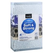 Essential Everyday Facial Tissues, Soft & Strong, Premium White, 2-Ply, 4 Pack