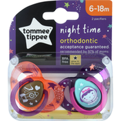 Tommee Tippee Pacifier, Orthodontic, Night Time, 6-18 Months