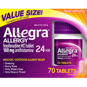 Allegra Allergy Relief, Indoor/Outdoor, 24 Hr, Non-Drowsy, Tablets, Value Size