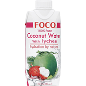 Foco Coconut Water, 100% Pure, with Lychee