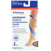 TopCare Firm Support Medical Beige Open-Toe Below Knee Compression Socks For Men And Women, Medium