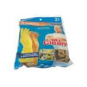 Mr. Clean Clean Reusable Latex Gloves Cotton Flock Lined Embossed Palm Grip With Beaded Cuff