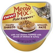 Meow Mix Pate Toppers with Real Chicken Topped with Shreds of Chicken & Turkey Wet Cat Food