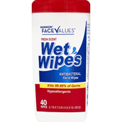 Harmon Face Values Wet Wipes, Antibacterial, Fresh Scent