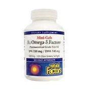 Natural Factors Rx Omega-3 Mini-Gels 500 mg EPA/DHA Fish Oil Softgels