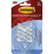 3M Command Jewelry Rack Clear, 2 hooks, 3 strips/pk