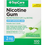TopCare Stop Smoking Aid, 2 mg, Gum, Cool Mint Flavor