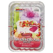 Handi-Foil Cake Pans, with Lids, Blossom Pink, 13 X 9