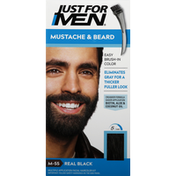 Just For Men Easy Brush-In Color, Mustache & Beard, Real Black M-55