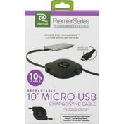 ReTrak Charge/Sync Cable, Micro USB, Retractable, 10 Feet