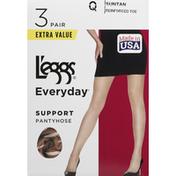 L'eggs Pantyhose, Support, Suntan, Size Q