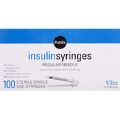 Publix Insulin Syringes, Regular Needle, 1/2 cc
