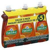 Palmolive Dish Liquid, Orange Tangerine, Essential Clean, Value 3 Pack