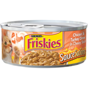 Friskies Wet Cat Food, SauceSations Chicken & Turkey Dinner in Cheesy Sauce