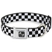 """Buckle-Down 15"""" to 26"""" Long 1"""" Wide Seatbelt Style Black & White Checker Dog Collar"""