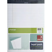 Top Flight Legal Pads, White, 3 Pack